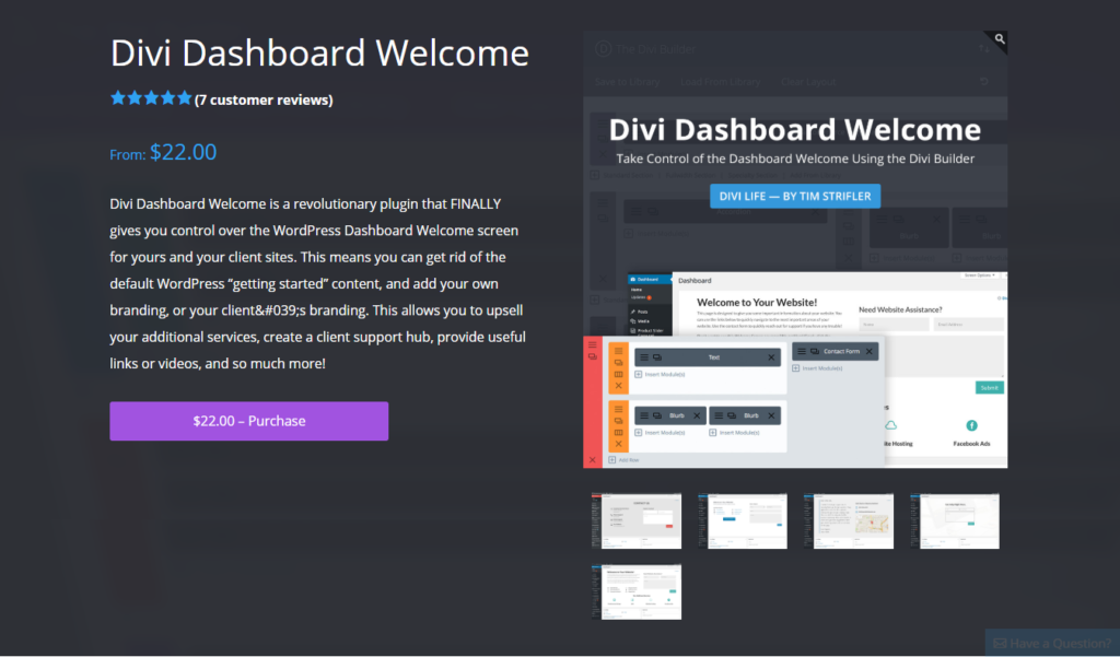 Divi Dashboard Welcome Image