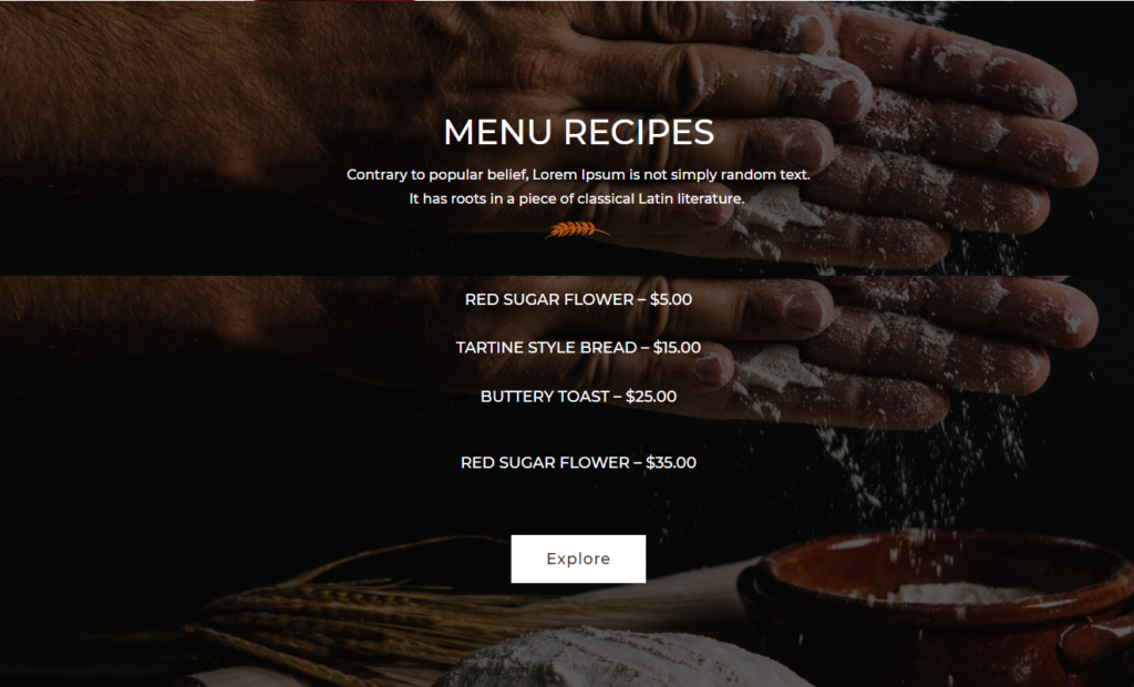 Menu Section Divi Bakery Template